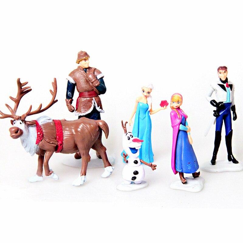 Elsa anna figure toy play set anna elsa hans kristoff sven olaf 6pcs