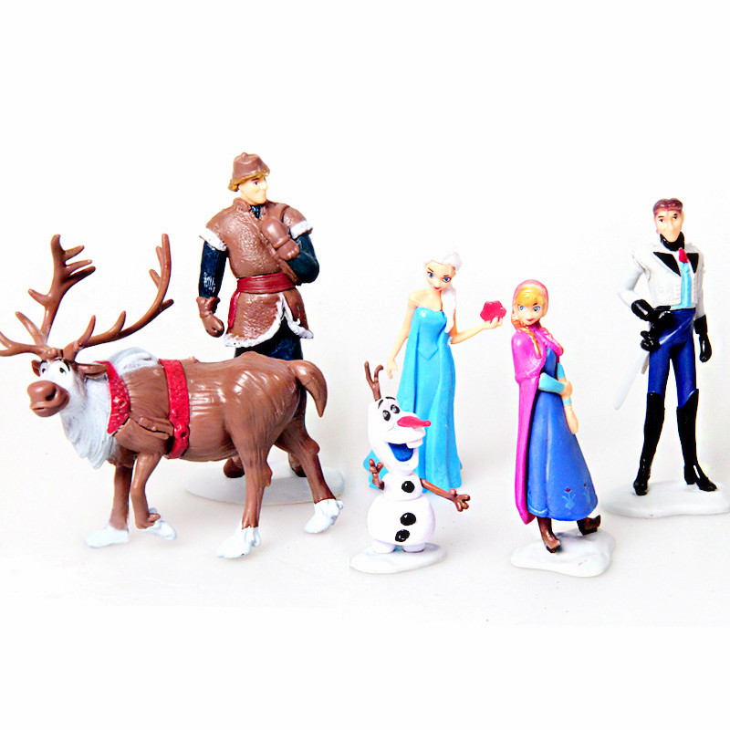 Anna Elsa Hans Kristoff Sven Olaf PVC action Figure set kid Toy dolls Christmas Birthday gifts for girl 6pcs/lot 7-10CM