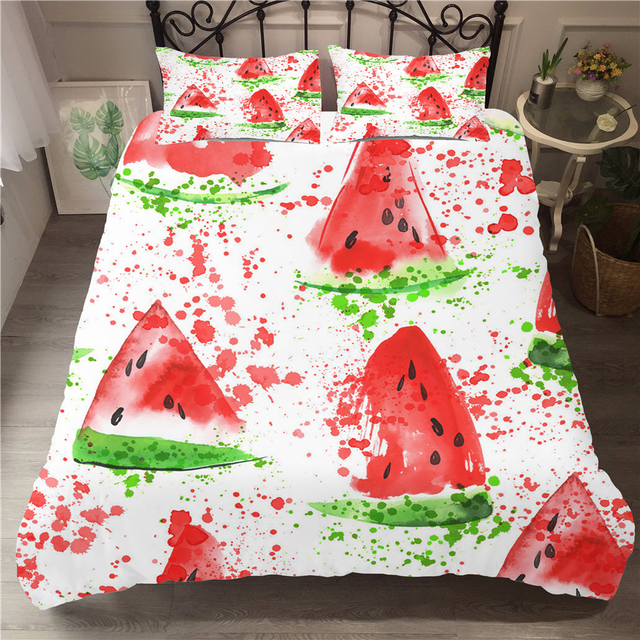 A Bedding Set 3D Printed Duvet Cover Bed Set Watermelon Home Textiles for Adults Bedclothes with Pillowcase #XG01-in Bedding Sets from Home & Garden