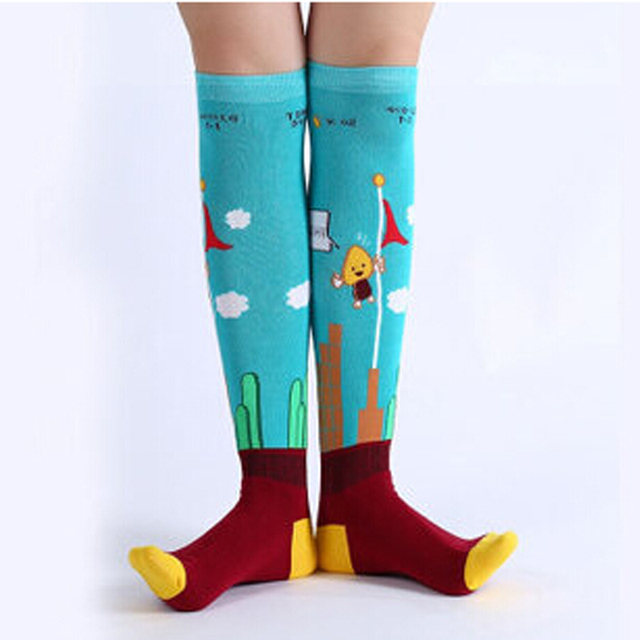 Lovely Animal Patterns Female Tide Socks Pure Cotton Cartoon Prints Fashion Long Tube Socks Wild Casual