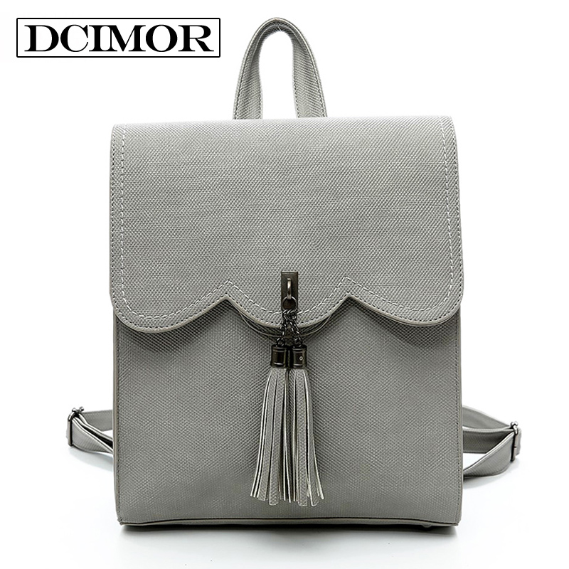 DCIMOR Brand Preppy Style Leather School Backpack Bag Cool Urban Backpack Tassels Women Backpack Retro Large