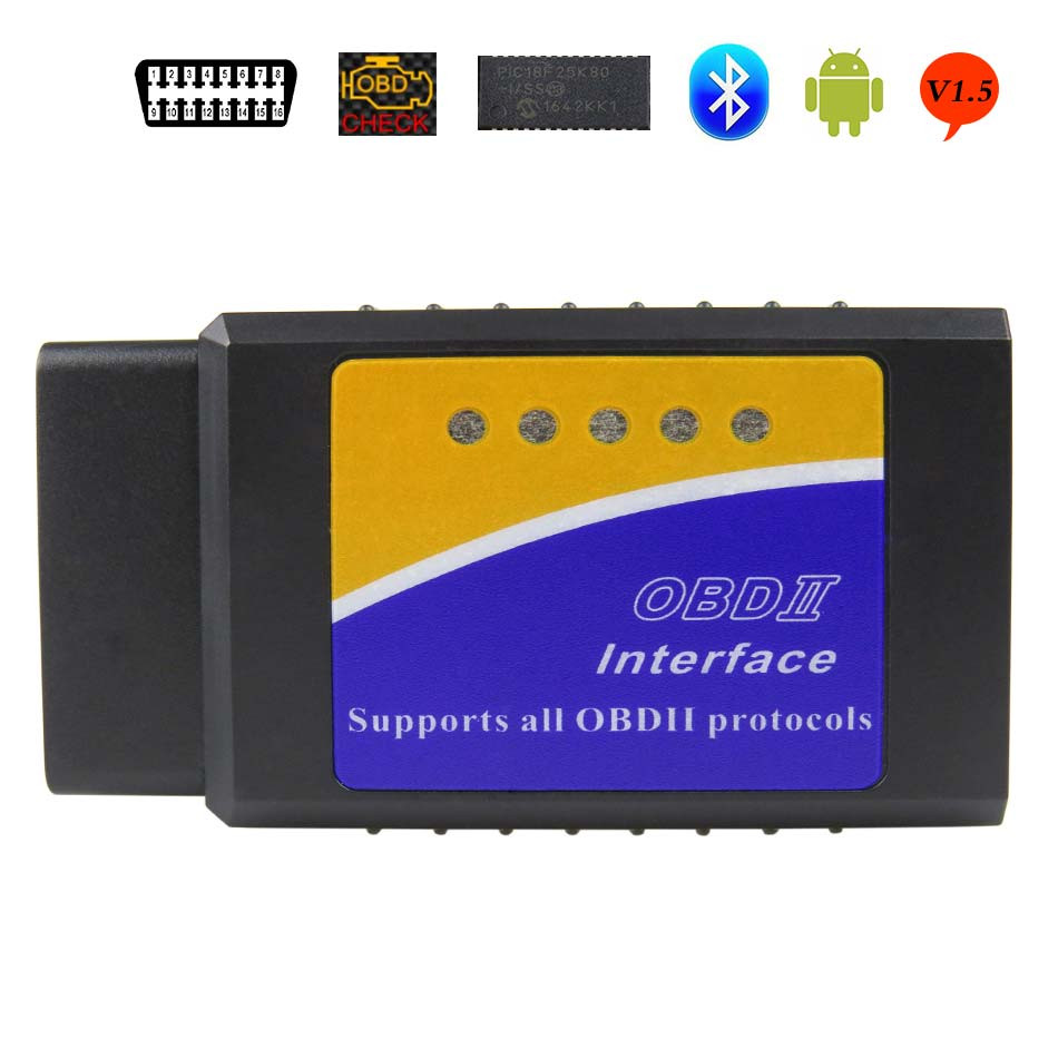 El más nuevo V1.5 Elm327 adaptador Bluetooth Obd2 Elm 1,5 V 327 escáner de diagnóstico automático para Android Elm-327 Obd 2 ii herramienta de diagnóstico de coche