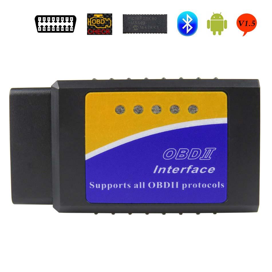 Más nuevo V1.5 Elm327 adaptador Bluetooth Obd2 Elm 327 v 1,5 Auto escáner de diagnóstico para Android Elm 327 Obd 2 herramienta de diagnóstico del coche ii