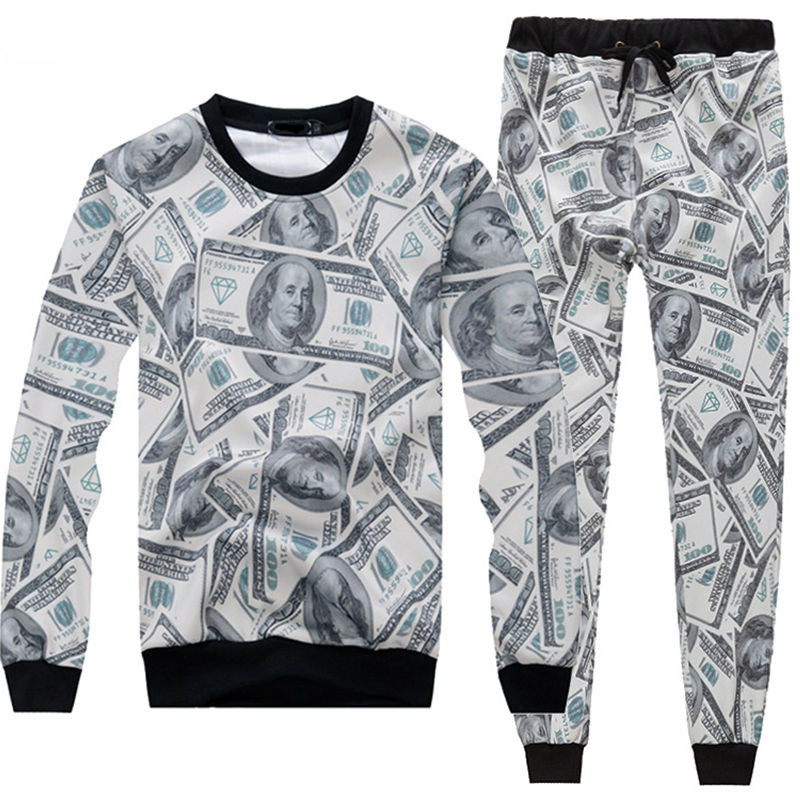 Harajulu New Funny 3D Money Pattern 100 Dollar Print Sweat Suits Sweatshirt+sweatpants Women Men Joggers Sportsuits S-XXL R2392