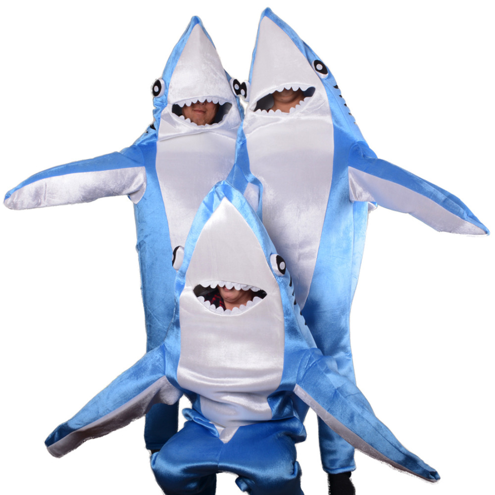 aliexpresscom buy child adult shark costume cute mascot blue funny cosplay fleece fullbody animal party halloween costumes for kids from reliable boys