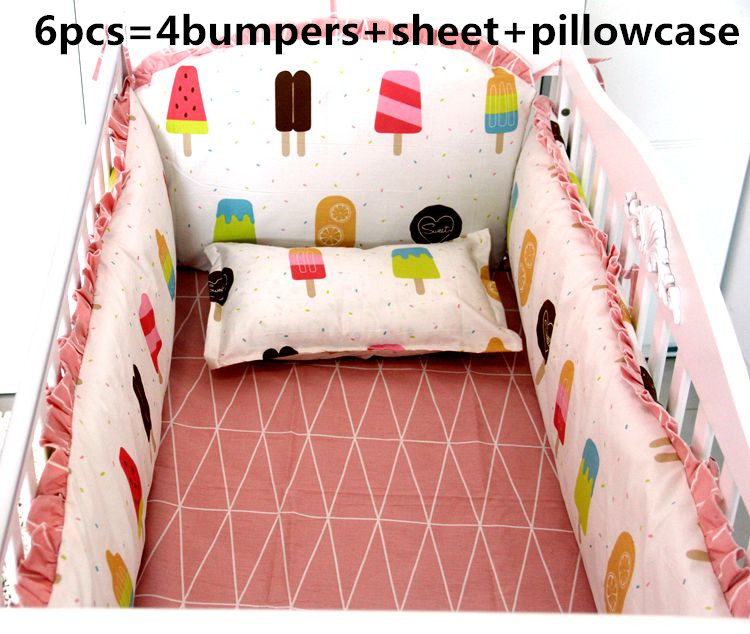 Discount! 6pcs Baby Bedding Sets Baby Girl Bedding Set Cribs Cotton Beddings ,include(bumper+sheet+pillowcase)