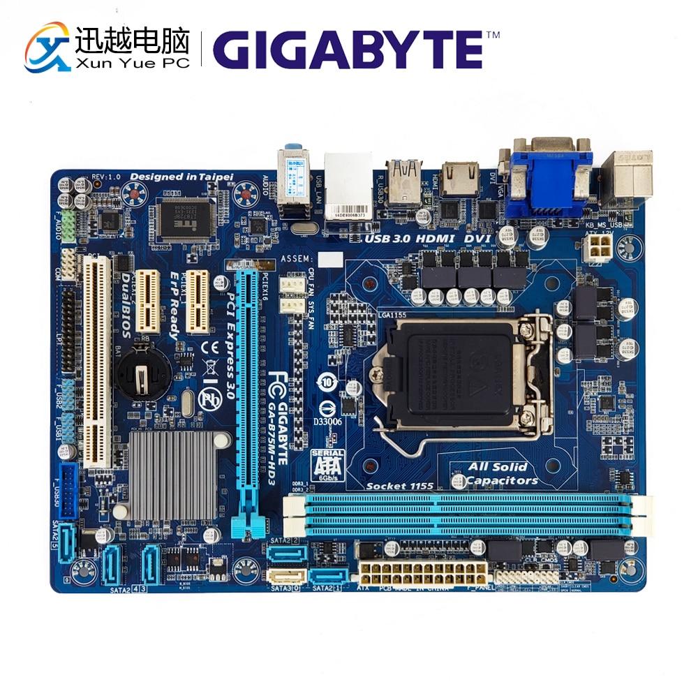 Gigabyte GA-B75M-HD3 Desktop Motherboard B75M-HD3 B75 LGA 1155 i3 i5 i7 DDR3 16G SATA3 USB3.0 VGA DVI HDMI Micro-ATX b75 pro3 large panel 4 ram slot motherboard sata3 0 a 1155 e3 1230 v2 i5 3470