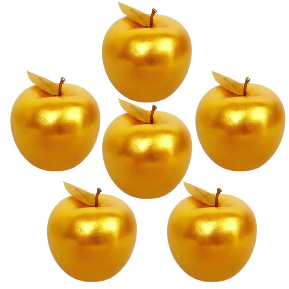 New 6pcs Artificial Golden Apples Simulation Fruit Crafts Home Decoration Christmas Decor Hot Sale