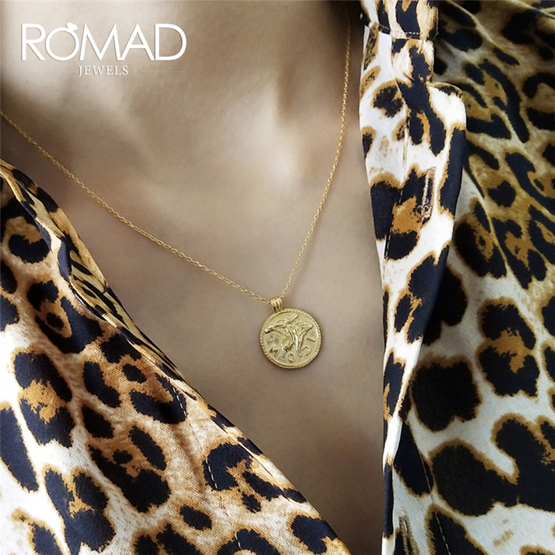 ROMAD Silver 925 Necklace Minimalistic Leopard Head Pendant Necklace Gold Color Round Coin Necklace Women Jewelry Kolye R4