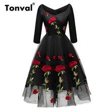 c539618e92ba56a Tonval цветочный Платье с розой сетка вышивка Элегантный V шеи женский,  Черный вечерние платье осень 2/3 рукав рождественское пл.