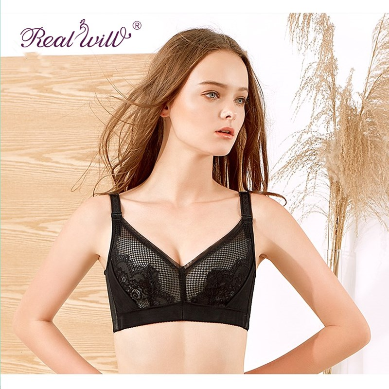 Realwill Black Sexy Women Push Up Bra Large Size Lace Bra Women Intimates Hot New Design Sexy Wireless Bras