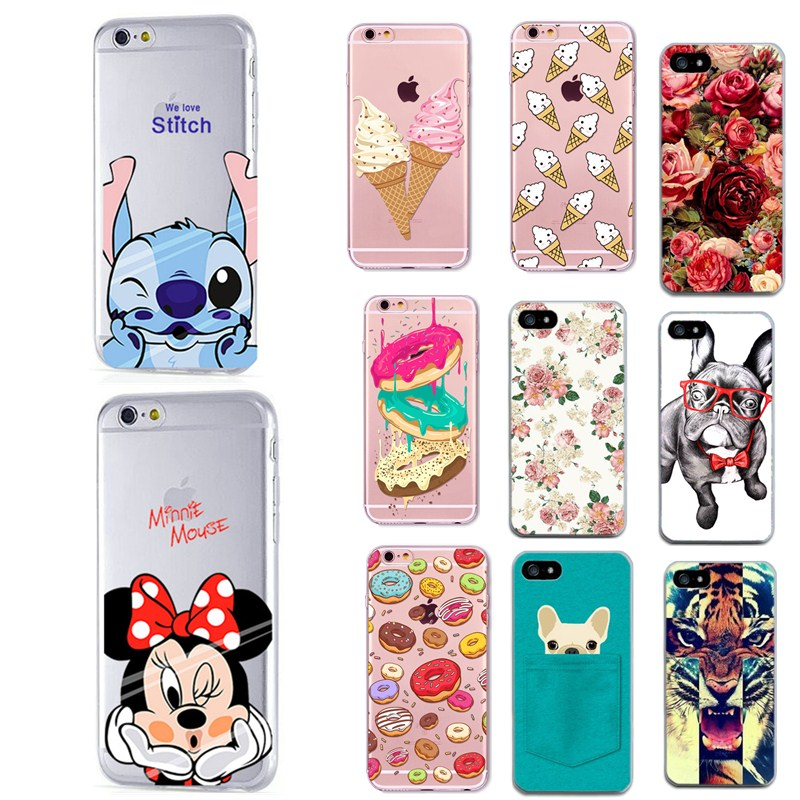For Apple Iphone 4 4S 5 5S SE Cases Soft Silicon Flower Floral Dog Pattern Phone Cases For Iphone 6 6S 7 7 Plus 8 8 Plus Case
