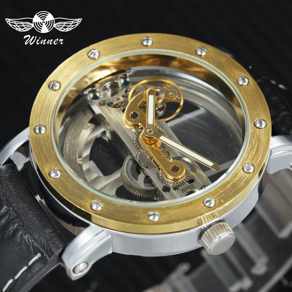 WINNER Top Brand Luxury Men Auto Mechanical Watch 3D Bolt Design Brown Leather Strap Golden Bridge Fashion Concise Wrist Watches winner transparent golden case luxury casual design brown leather strap mens watches top brand luxury mechanical skeleton watch