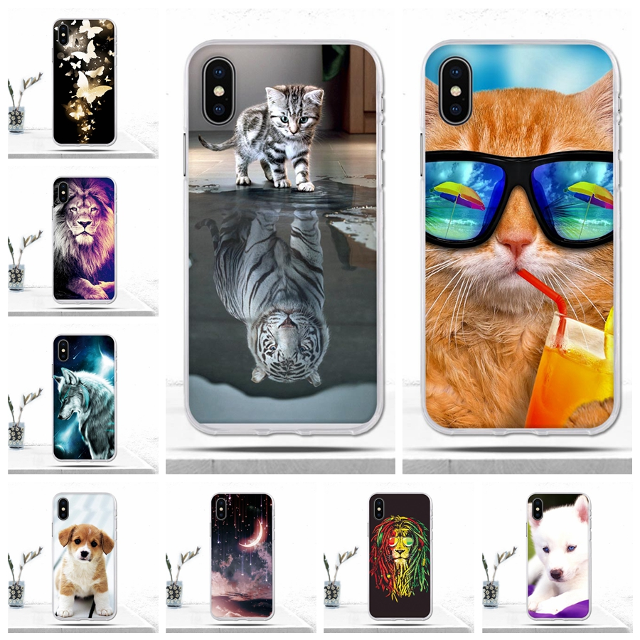 for iPhone X Case 10 Ten Cover Soft TPU Silicon 3D Relief Luxury Cute Cartoon Animal Back Cover for Iphone 10 X Case Covers Bags