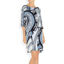 2016 big European and American minimalist geometric prints knitted elastic round neck quarter Sleeves Dress