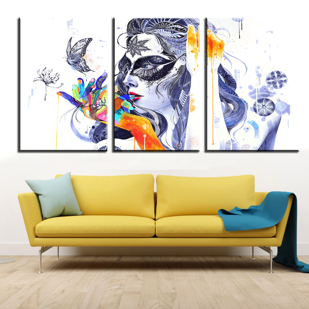 xdr140 3pcs Wall Art Abstract Dream Colorful Women Canvas Painting ...