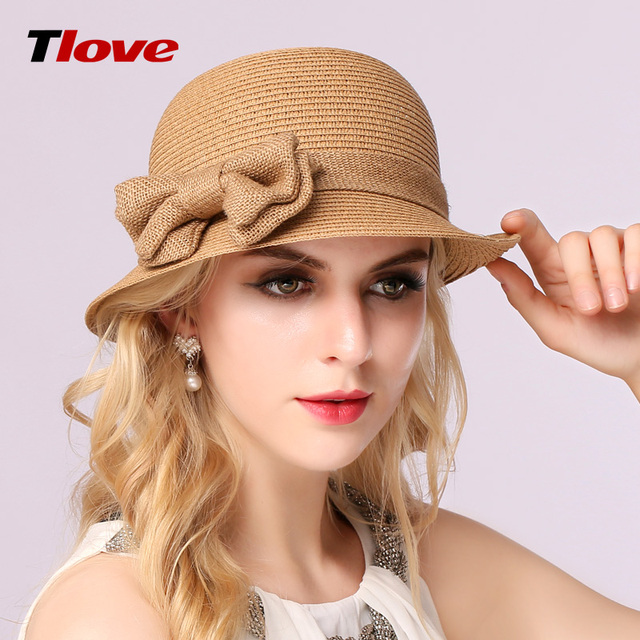 2016 New Female British Straw Sun Hat Summer Sun Cap with Bow Foldable Female Outside Hat  B-3145