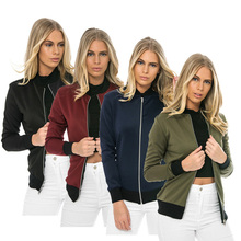 HQ 2017 Fall Winter Women's Fashion Simple Long-sleeved Jacket Zipper Jacket Female Solid Color Casual Cool Style Jacket NXH2219