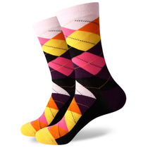 6 Pairs/Lot Men's Colorful Combed Cotton Gift Socks