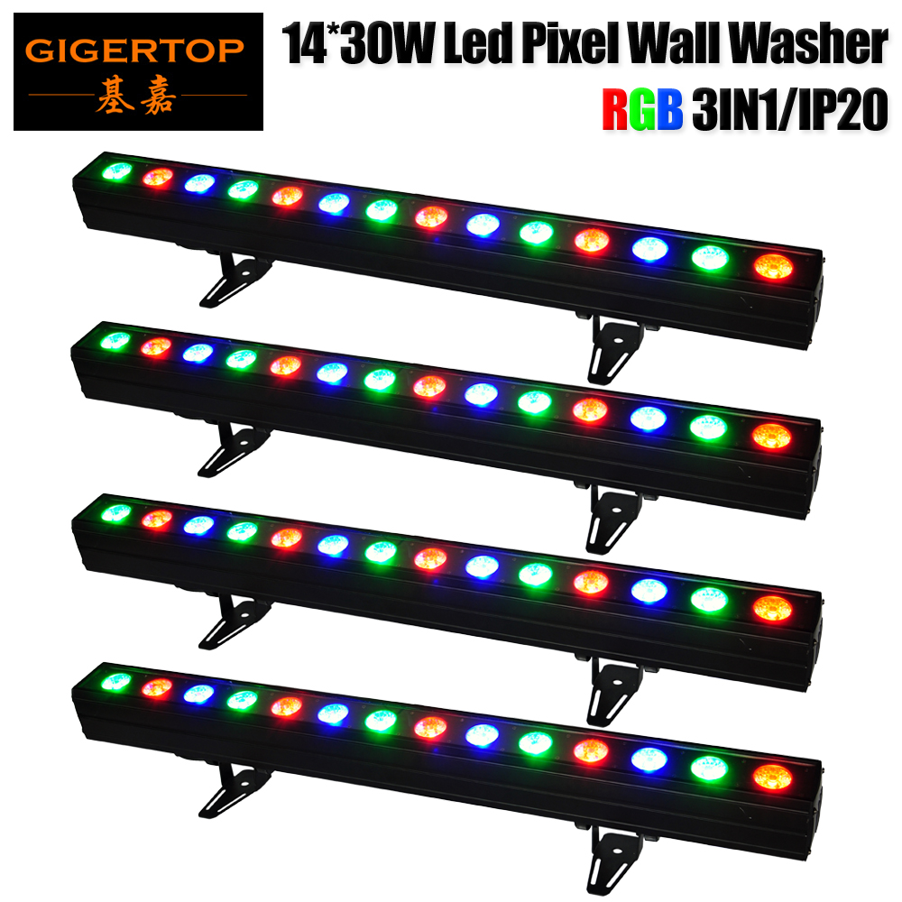 Factory Sales 4 Pack 14x30W Building Wall Washer Light DMX Lamp Individual Control Smooth Color Changing Linear DJ Club Disco