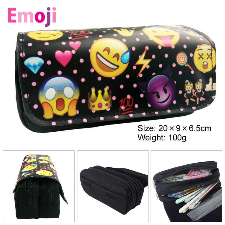 Emoji Canvas Double Zipper Pencil Bag Anime Pencil Case Kids Girl Gift Stationery Container School Supplies