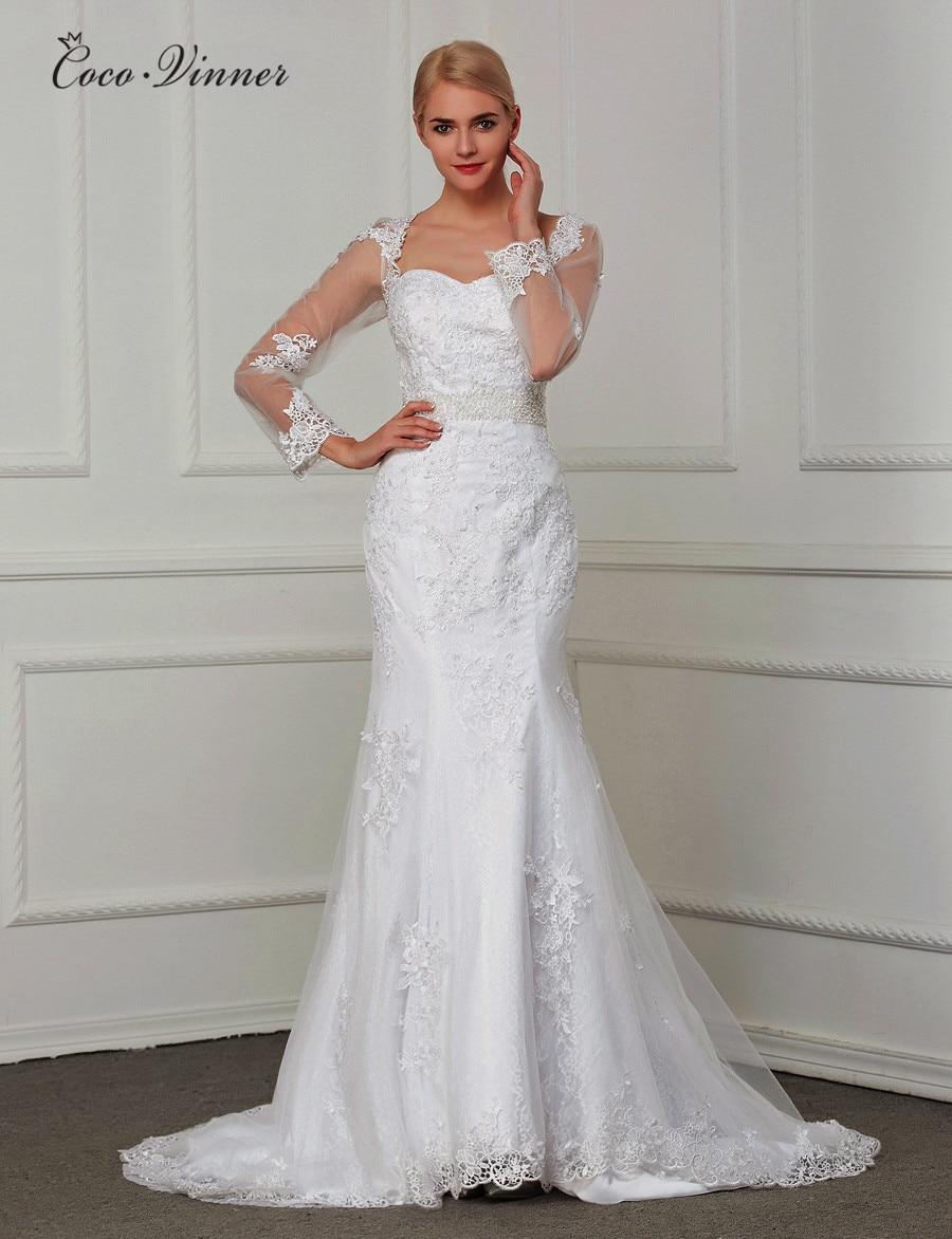 Fashion V Neck Long Sleeves Vestido De Noiva Lace Mermaid Wedding Dress 2020 Custom Made Bead Sash Wedding Dresses W0031