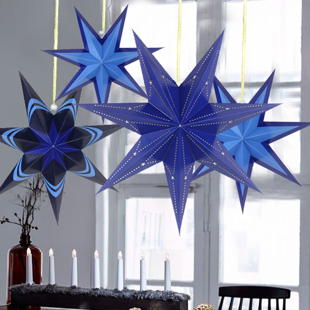 Blue Paper Star Lanterns Hanging Decorations for Christmas Wedding ...