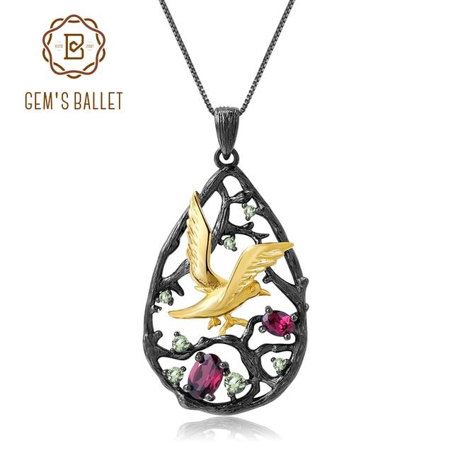 GEMS BALLET, en argent Sterling 925, en Rhodolite naturelle, bijou fin pour femmes, pendentif oiseau sur larbre fait à la main