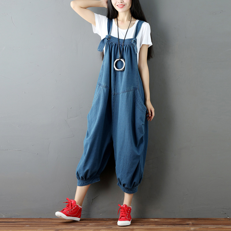Plus Size Women Wide Leg Jumpsuit Pocket Knitted cowboy Suspenders Overalls Trousers streetwear Bib hip hop cargo pants G071201