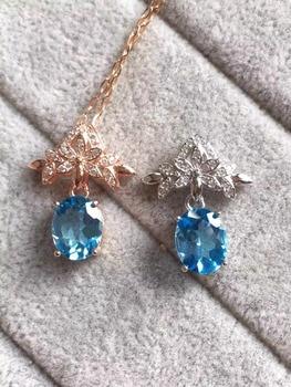 natural blue topaz stone pendant S925 silver Natural gemstone Pendant Necklace trendy Elegant bauhinia flower women fine jewelry
