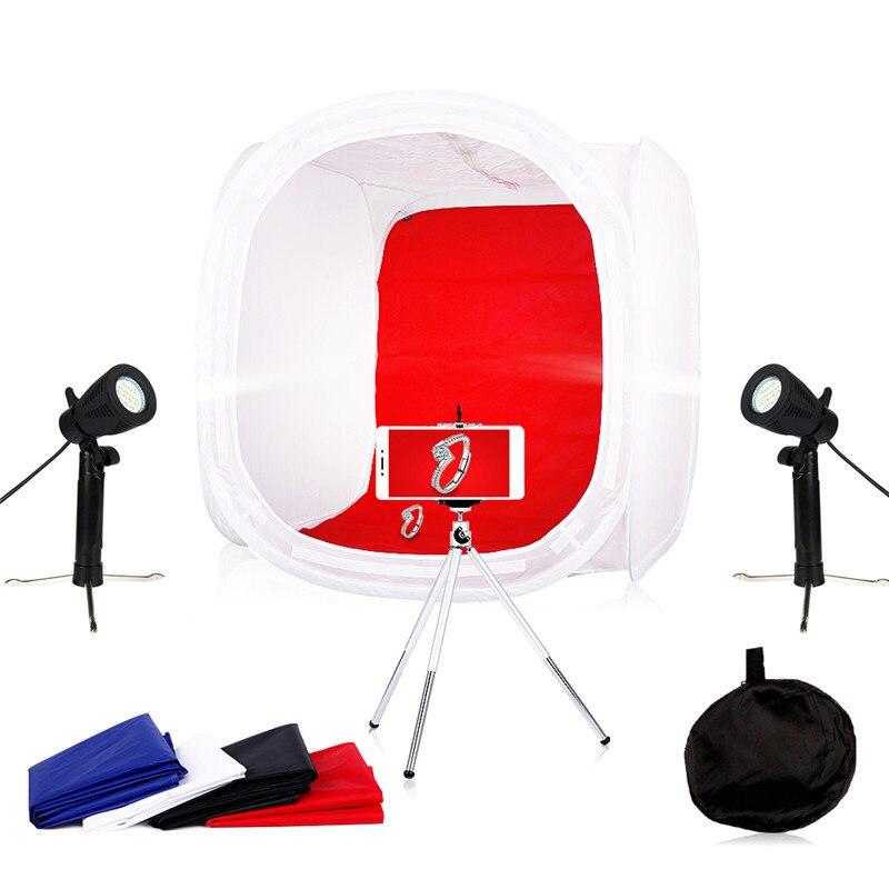 Photo Studio Soft box Kit Photography Lighting kit Led Light Tent Light box 40 x 40CM, 50 x 50CM,60 x 60CM, 80x 80CM Free Gift цена 2017