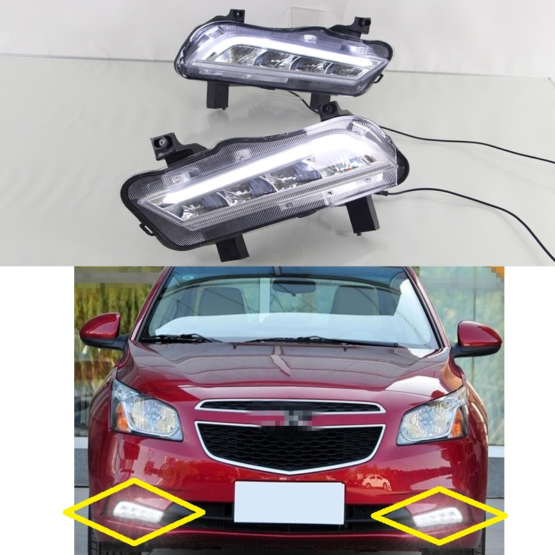 1 Set DRL LED daytime running driving lamp fog lights for Chevrolet Cruze classics 2014-2015 brand new set led drl daytime running daylights for bmw f25 x3 2010 2014 front driving bumper fog lights dimmable drl lamp