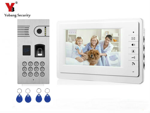 YobangSecurity Video Intercom 7 Inch Monitor Video Doorbell Door Phone Fingerprint Password Camera System RFID Access Control цены