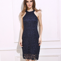 DERUILADY New Arrive Ladies Summer Lace Dress Sexy Hanging Neck Sleeveless Dresses Fashion Office Slim Pencil