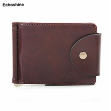 Luxury Men's Ultra-thin Leather Money Clip Slim Wallets ID Credit Card Purse
