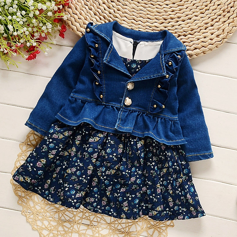 Baby Girls Vintage Floral Print Sleeveless Tutu Sundress Denim Jeans Coat Spring Kids Two Pieces Dress