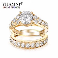 YHAMNI Brand Luxury Ring Gold Filled Lovers Double Ring New Fashion Jewelry 2ct CZ SONA Engagement Rings For Women YH118