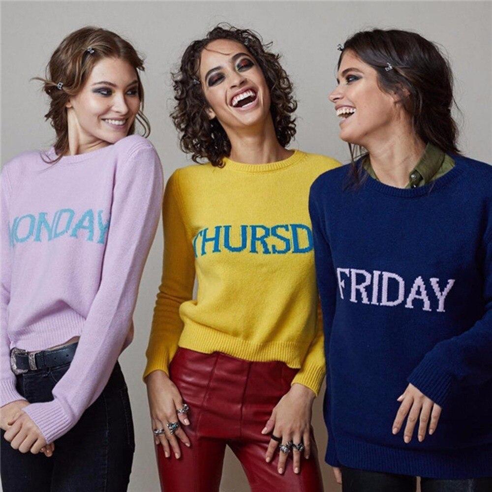 Suéter de talla grande para mujer una semana jerseys de piel de conejo marca de lujo 2017 otoño suave Fecha de sábado y domingo sudadera con letras