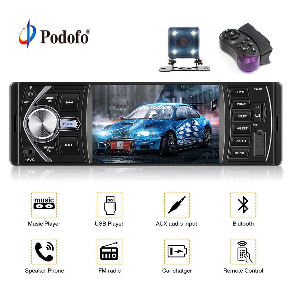 Podofo autoradio 4022D 4.1 inch 1 Din Car Radio Audio Stereo Bluetooth Support Rear View Camera Steering Wheel Remote Contral podofo autoradio 4022d 4 1 inch 1 din car radio audio stereo bluetooth support rear view camera steering wheel remote contral