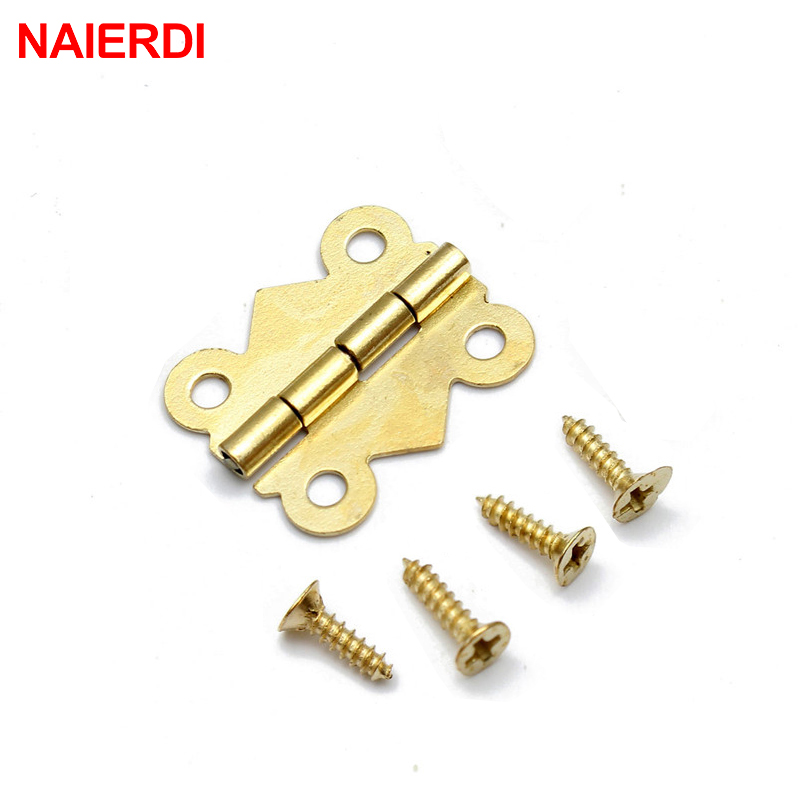 10pcs NAIERDI Mini Butterfly Jewellery Box Hinges Bronze/Silver/Gold Cabinet Drawer Decorate Box Hinge For Furniture Hardware