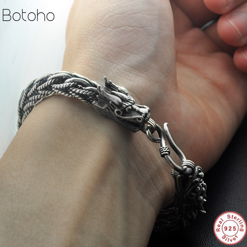 Men bracelet 925 silver Jewelry Heavy Duty Men's Bracelet Retro Punk Style charm Men's Jewelry Bracelet Thai chain dragon retro 2018 925 bracelets mens vintage men s bracelet heavy thai silver fashion jewelry free shipping men s silver 925 charm bracelet