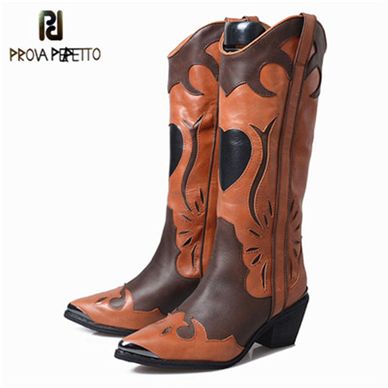 Prova Perfetto Original Rome Style Slip-on High Heel Women Long Boot Fashion Genuine Leather Mixed Color Point Toe Knight BootsProva Perfetto Original Rome Style Slip-on High Heel Women Long Boot Fashion Genuine Leather Mixed Color Point Toe Knight Boots
