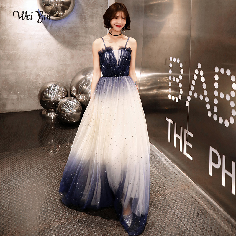 Weiyin 2019 nouvelle robe de soirée de luxe Sexy dos nu Tulle longue robe de bal fête personnalisée robes formelles WY1548