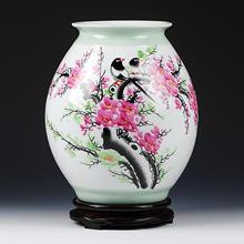 "China Jingdezhen master Collection Hand ""Happy"" Ceramic vase With pedestal"