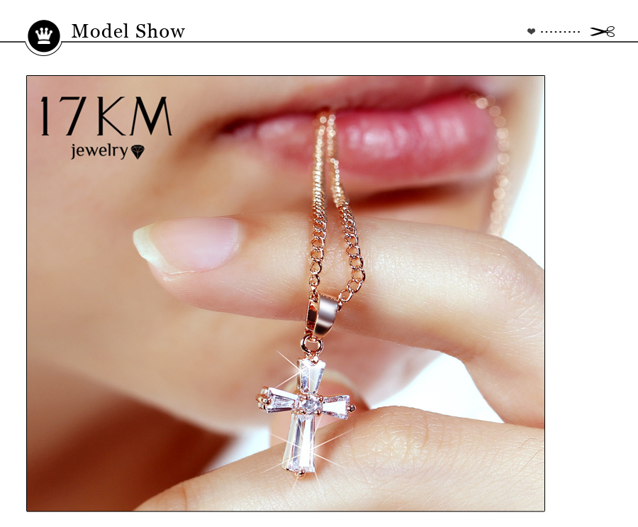 HTB1YnCbuiOYBuNjSsD4q6zSkFXaJ - 17KM Rose Gold Color Cross Pendant Necklaces For Woman Crystal Pendant Cubic Zirconia Long Necklace Bijoux Jewelry Wholesale