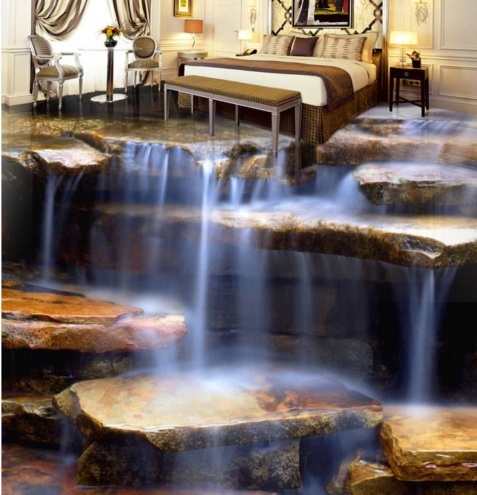Custom 3d flooring Stream waterfall self adhesive wallpaper 3d floor wallpaper photo wall mural 3d wallpaper modern floor stream хатанга 3 sport