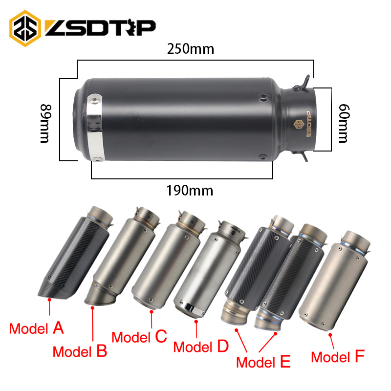 ZSDTRP 51 MM 60 MM Motorcycle Exhaust Muffler Pipe SC GP Escape Moto Dirt Bike Street Bike Scooter ATV Quad Z750 Z800 Racing motorcycle gp exhaust universal muffler 38 51mm slip on for dirt bike street bike scooter atv quad new