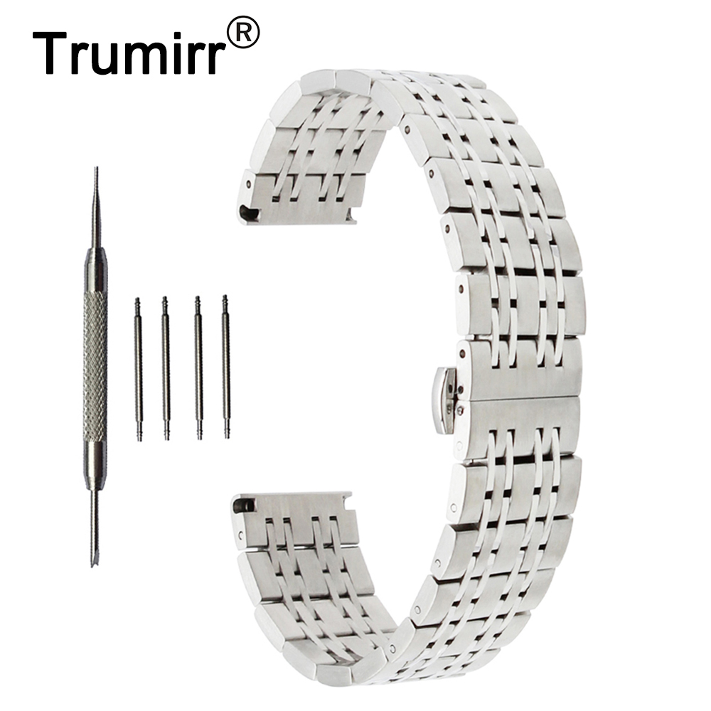 18mm 20mm 22mm Stainless Steel Watch Band for Seiko Butterfly Buckle Strap Wrist Belt Bracelet Black Rose Gold Silver