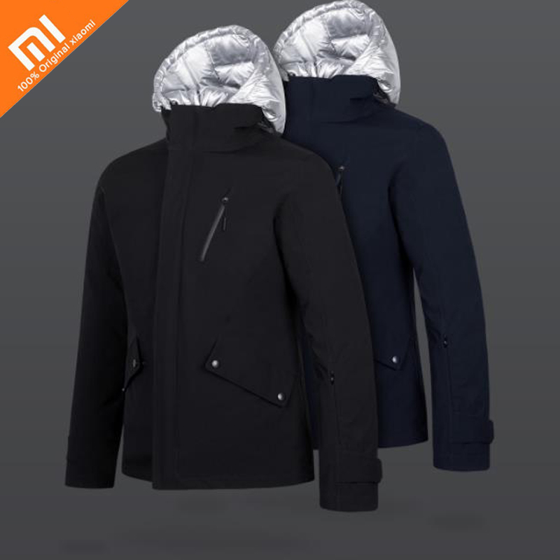 Original xiaomi mijia three-in-one goose down jacket waterproof and wet front and back can wear winter smart warm men's jacket