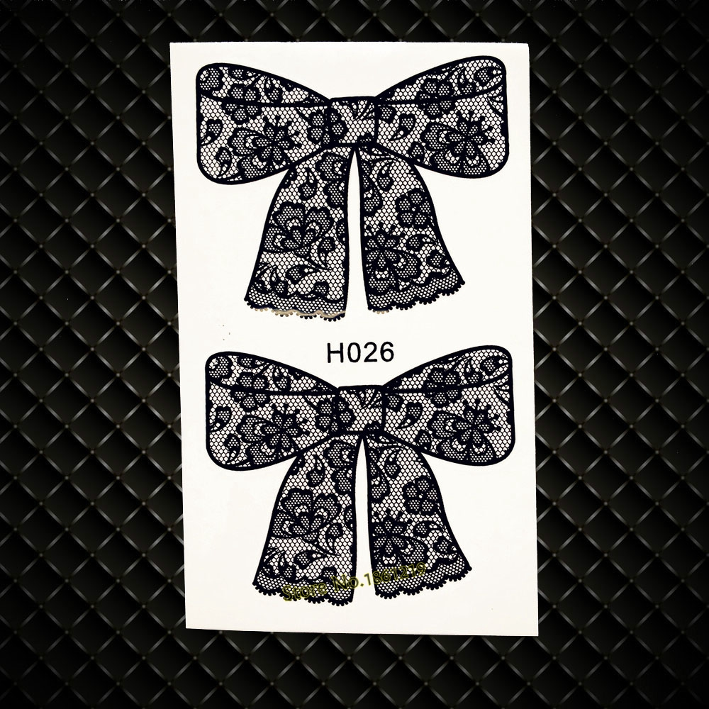 Black Bow Tie Waterproof Temporary Tattoo Sticker Bowknot Designs Fake Flash Tattoos paste GH026 Kids Body Arm Tattoo Stickers